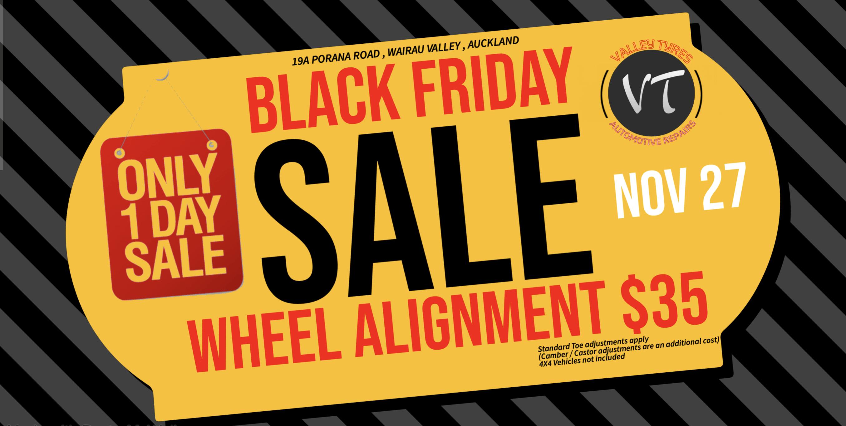 Black Friday Valley Tyres Wheel alignment